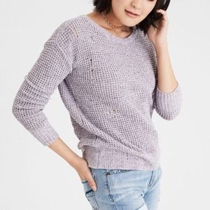 American Eagle distressed sweater in chenille